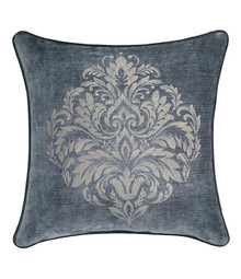Sicily Teal Embroidered Square Pillow - 846339066009
