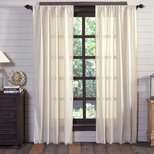 Tobacco Cloth Fringed Curtain Collection -