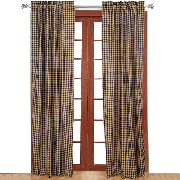 Navy Check Curtain Collection -