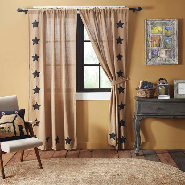 Burlap w/ Stencil Stars Curtain Collection -