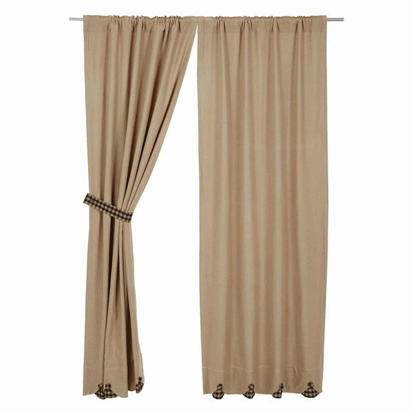 Burlap w/ Check Curtain Collection -