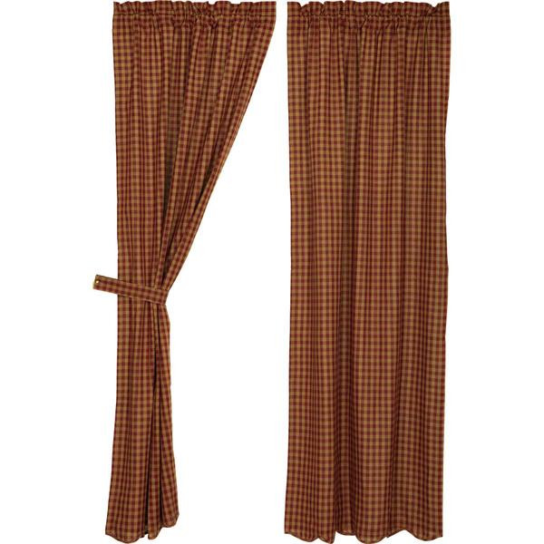 Burgundy Check Curtain Collection -
