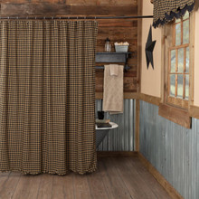 Black Check Scalloped Shower Curtain - 840528112096