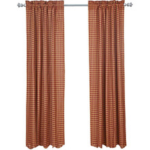 Burgundy Check Scalloped Curtains - 841985081314