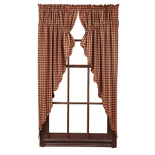 Burgundy Check Prairie Curtain Set - 841985011847