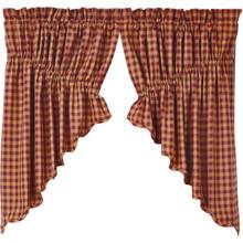 Burgundy Check Prairie Swag Set - 841985011830