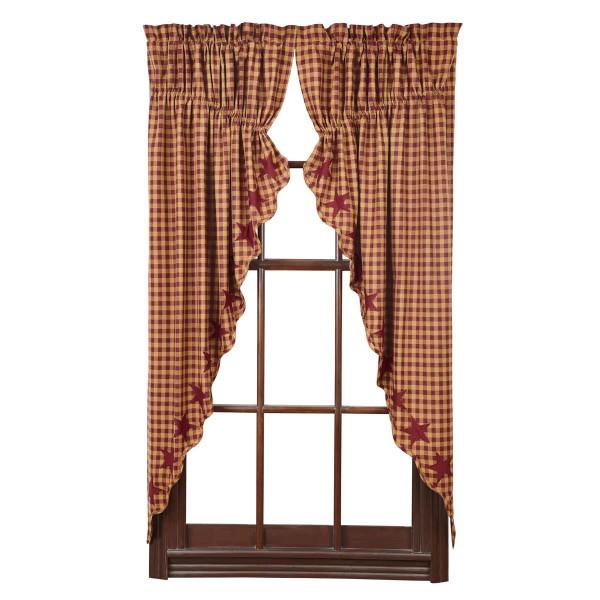 Burgundy Star Prairie Curtain Set - 840528111129