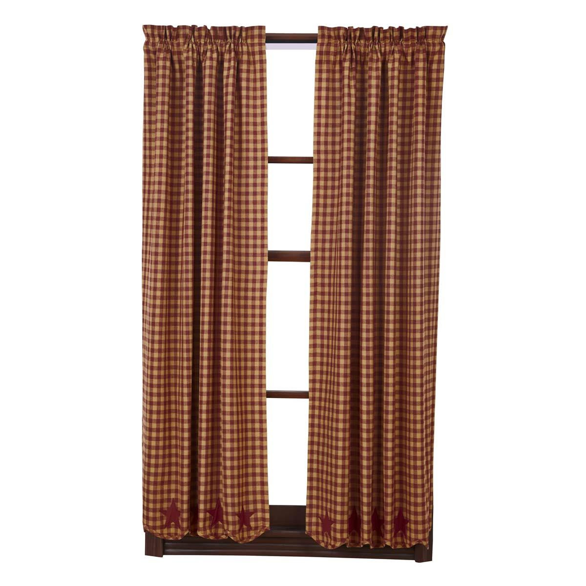 Burgundy Star Short Curtains - 840528111112