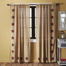 Burlap w/ Stencil Stars Curtains - 840528125690