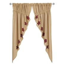 Burlap w/ Stencil Stars Prairie Curtain Set - 840528125713
