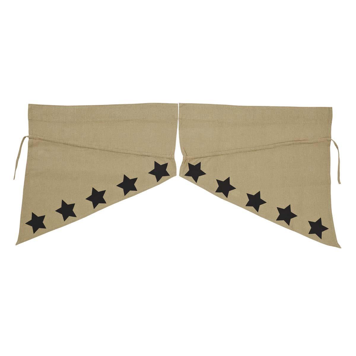 Burlap w/ Stencil Stars Prairie Swag Set - 840528125720