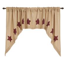 Burlap w/ Stencil Stars Swag Set - 840528125737