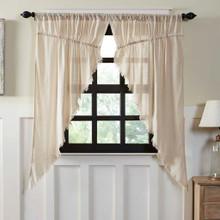 Tobacco Cloth Fringed Prairie Curtain Set - 841985019706