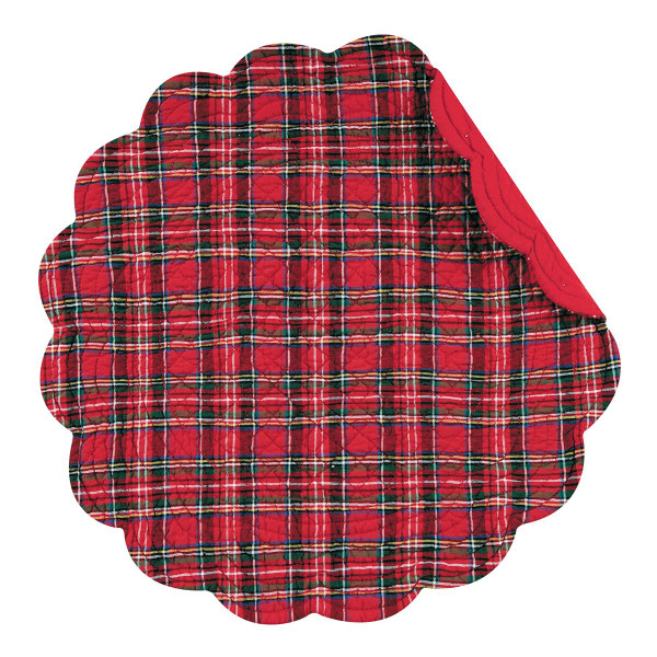 Red Plaid Round Placemat - 008246426561