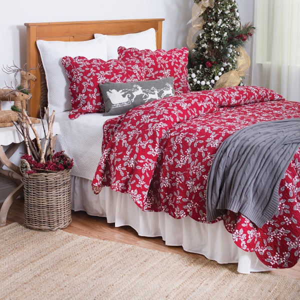 Silver Mistletoe Quilt Collection -
