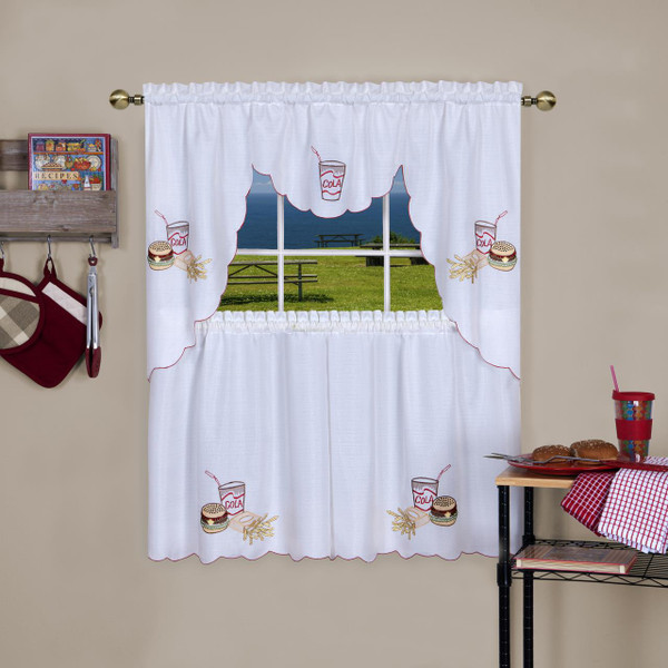 Fast Food Embellished Tier and Swag Curtain Set - 054006246382