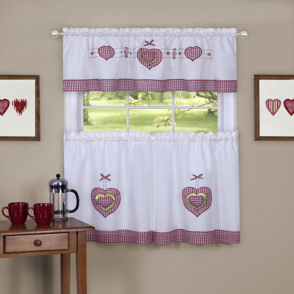 Gingham Hearts Embellished Tier and Valance Curtain Set - 054006246405
