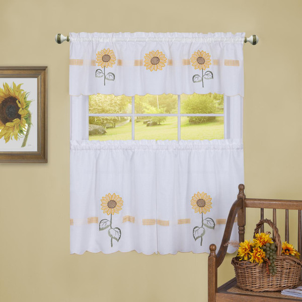 Sun Blossoms Embellished Tier and Valance Curtain Set - 054006246429