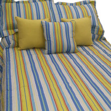 Bright Blue Green Stripe Bedding Collection -