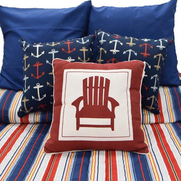 Dark Blue Red Stripe Bedding Collection -