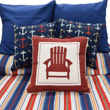 Dark Blue Red Stripe Bedding Collection -