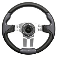 "Golf Cart Custom Steering Wheel, Carbon Fiber/Brushed Aluminum, 13"" Diameter"