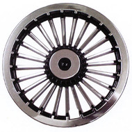 "Golf Cart Wheel Cover Hub Cap, 8"" Black & Silver Turbine Style for Steel Wheels"