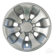 "Golf Cart Wheel Cover Hub Cap, 8"" Silver for Steel Wheels"