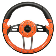 "Aviator 4 Steering Wheel, Orange/Black, 13"" Diameter"