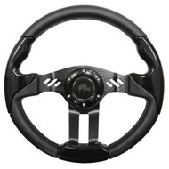 "Golf Cart Custom Steering Wheel, Black/Black, 13"" Diameter"