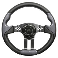 "Golf Cart Custom Steering Wheel, Carbon Fiber/Black, 13"" Diameter"