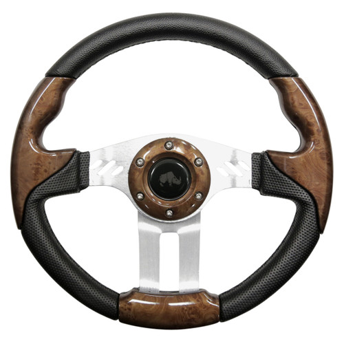 "Golf Cart Custom Steering Wheel, Woodgrain/Brushed Aluminum, 13"" Diameter"