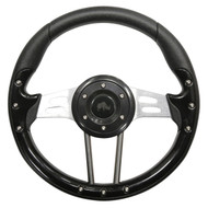 "Golf Cart Custom Steering Wheel, Aviator 4, Black/Brushed Aluminum, 13"" Diameter"