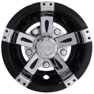 "Golf Cart Wheel Cover Hub Cap, 8"" Vegas Chrome/Black for Steel Wheels"