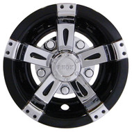 "Golf Cart Wheel Cover Hub Cap, 10"" Vegas Chrome with Black for Steel Wheels"