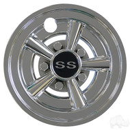 "Golf Cart Wheel Cover Hub Cap, 8"" SS Chrome Muscle Car for Steel Wheels"