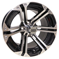 RX350 14x7 Golf Cart Wheel, Machined with Gloss Black