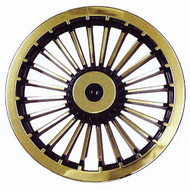 "Golf Cart Wheel Cover Hub Cap, 8"" Black & Gold Turbine Style for Steel Wheels"