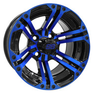 RX334 12x7 Golf Cart Wheel, Black and Blue