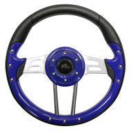 "Golf Cart Custom Steering Wheel, Aviator 4, Blue/Brushed Aluminum, 13"" Diameter"