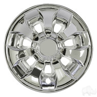 "Golf Cart Wheel Cover Hub Cap, 8"" Driver, Chrome for Steel Wheels"