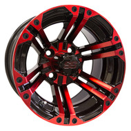 RX354 14x7 Golf Cart Wheel, Black and Red