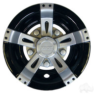 "Golf Cart Wheel Cover Hub Cap, 8"" Vegas Silver Metallic/Black for Steel Wheels"