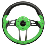 "Aviator 4 Steering Wheel, Lime Green/Black, 13"" Diameter"