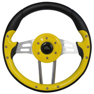 Golf Cart Custom Steering Wheel, Aviator 4, Yellow/Brushed Aluminum