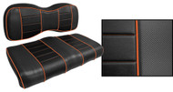 Express Custom Golf Cart Seat Covers, Black with Orange Accents
