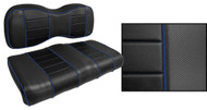 Express Custom Golf Cart Seat Covers, Black with Royal Blue Accents