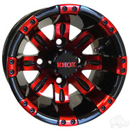 Golf Cart Wheel, 10x7 Black with Red