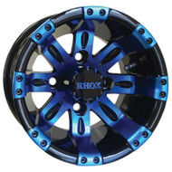 Golf Cart Wheel, 10x7 Black with Blue