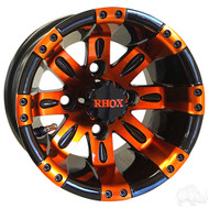 Golf Cart Wheel, 10x7 Black with Orange